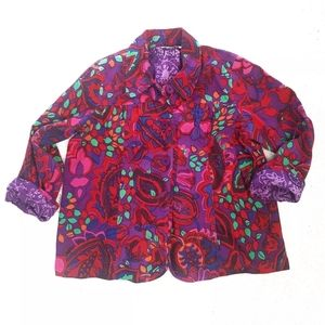 Choices Woman Jacket Floral Paisley Size 1X